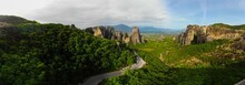Meteora, Greece. Old City Aerial View.