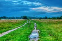 A Dirt Road Runs Away Through ...