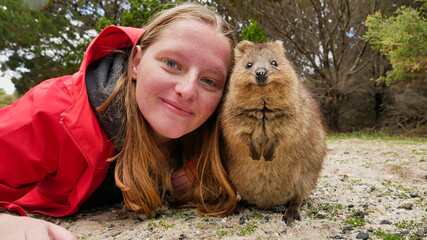 Picture of a tourist woman / girl posing with a cute quokka on Rottnest Island near Perth in Western Australia