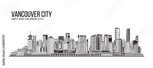 Cityscape Building Abstract Simple shape and modern style art Vector design - Vancouver city