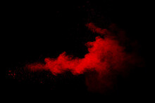 Abstract Red Powder On Black Background. Red Color Clouds.