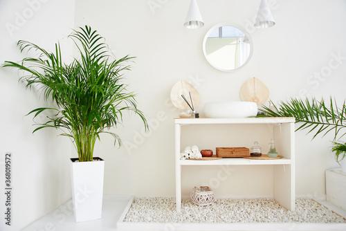 Fototapeta White bathroom interior with green plants. Resort style sink, mirror and lighting, minimal design, nobody obraz na płótnie