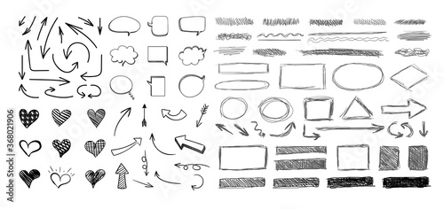 Vector set of hand drawn elements isolated on white background, black scratched hatch drawings, circles, arrows, hearts, bubbles Fototapet