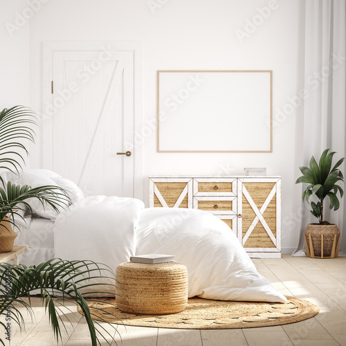 Mockup frame in bedroom interior background, Farmhouse style, 3d render - 368023746