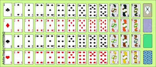Fototapeta Poker playing cards full deck obraz na płótnie