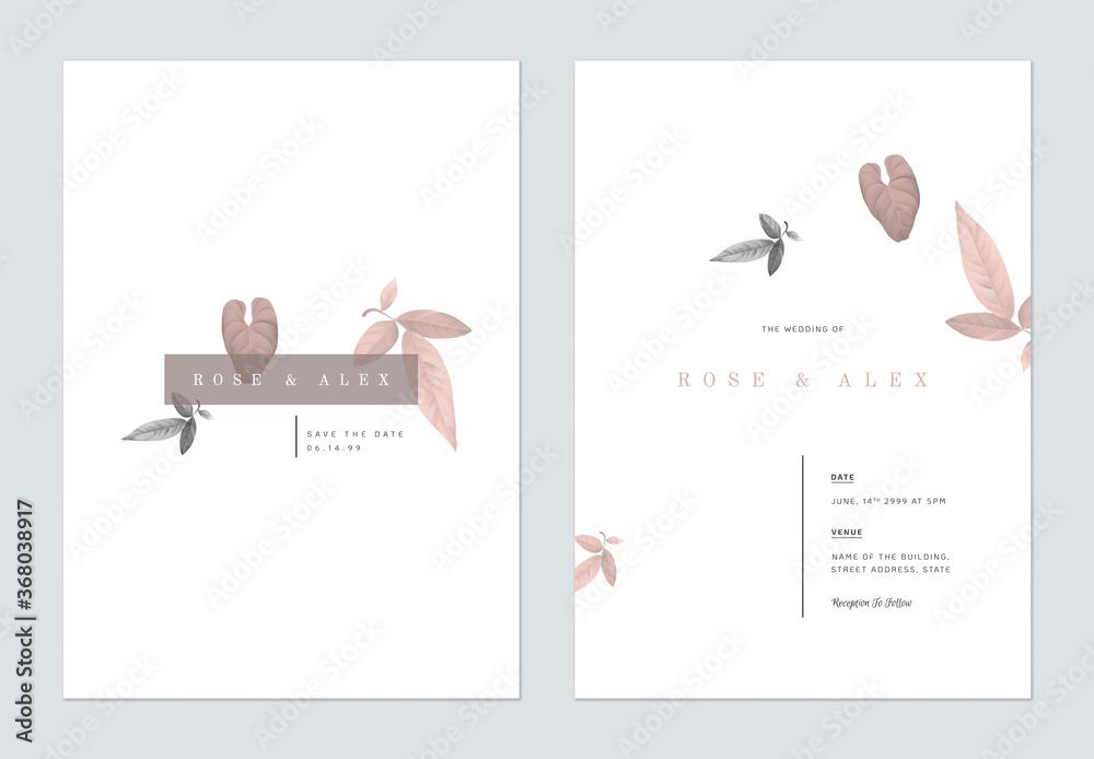 Fototapeta Minimalist foliage wedding invitation card template design, brown and grey leaves on white