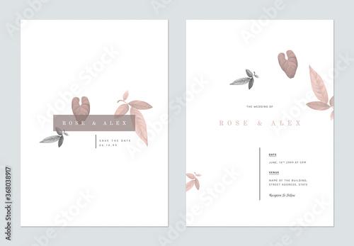 Fototapeta Minimalist foliage wedding invitation card template design, brown and grey leaves on white obraz