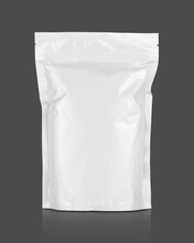 White Aluminum Foil Zipper Pouch For Food Product Packaging Design Mock-up Isolated On Gray Background