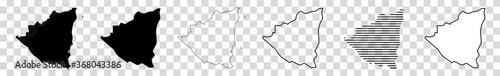 Fotografie, Obraz Nicaragua Map Black   Nicaraguan Border   State Country   Transparent Isolated  