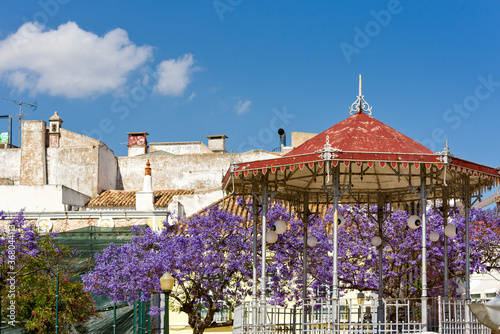 Photo jacaranda tree and bandstand in iron gazebo designs in Faro, Algarve, Portugal