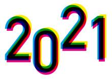 Carte De Vœux 2021 Avec Un Graphisme Dynamique Et Coloré, Utilisant Les Couleurs Primaires De L'imprimerie Dans Une Création Originale.