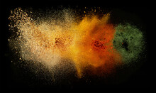 Freeze Motion Of Spice Explosion, Black Background