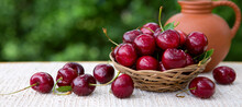 Large Red Cherries In A Basket...
