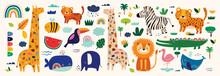 Cute Vector Cartoon Animals. Childish Pattern