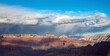 view to grand canyon in sunset with fog