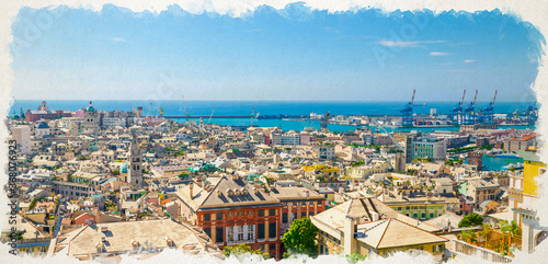Watercolor drawing of Top aerial scenic panoramic view of old historical centre quarter districts, panorama of european city Genoa, port and harbor of Ligurian and Mediterranean Sea, Liguria, Italy
