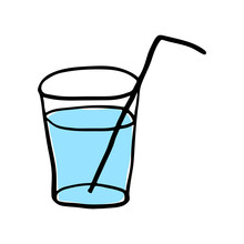 Glass With Straw Icon. Cute Outline Sketch. Vector Flat Graphic Hand Drawn Illustration. The Isolated Object On A White Background. Isolate.