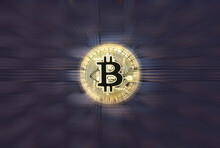Selective Focus On Cryptocurrency Bitcoin On Black Background With Zoom Effect. Lot Of Copy Space.