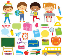 School Kids And School Supplies Clipart Set. Blackboard, Notebooks, Pencils And Other School Related Items, Over White Background.