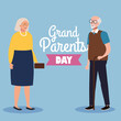 happy grand parents day with cute older couple vector illustration design