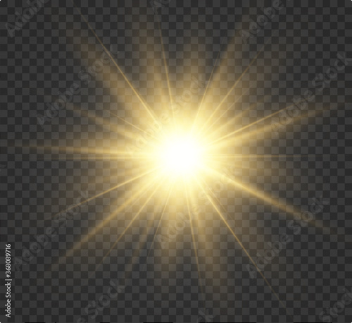 Fototapeta Yellow glowing light burst explosion with transparent. Vector illustration for cool effect decoration with ray sparkles. Bright star. Transparent shine gradient glitter, bright flare. Glare texture. obraz
