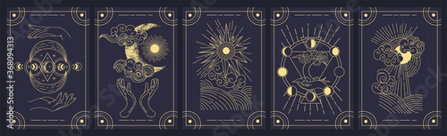 Canvas Set of five mystery cards in black and gold with intricate designs over a black