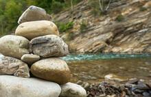 Closeup Stone Cairn Against Th...
