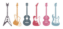 Flat Guitars. Acoustic Guitar, Electric Guitar On White Background. Isolated Stylish Art. Vector Set.
