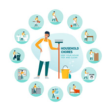 Woman Doing Household Chores At Home Infographic