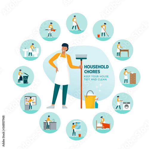 Fotografia Woman doing household chores at home infographic