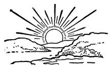Sunrise, Vintage Illustration.
