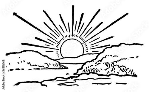 Sunrise, vintage illustration. Canvas Print