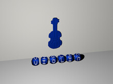 3D Representation Of Violin With Icon On The Wall And Text Arranged By Metallic Cubic Letters On A Mirror Floor For Concept Meaning And Slideshow Presentation. Music And Background