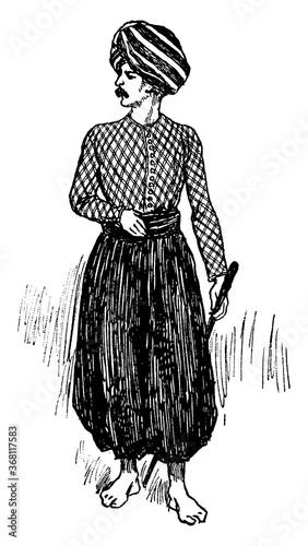 Trousers, vintage illustration