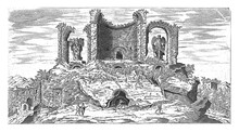 Ruins Of The Trophies Of Marius In Rome, Vintage Illustration.