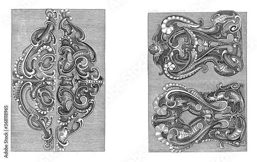 Fotografija Two ornaments and two lobe-style backrests, vintage illustration.