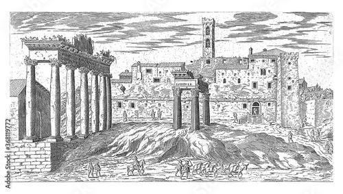 Fototapeta Roman Forum in Rome, vintage illustration.