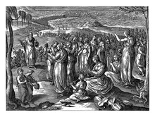 Moses And The Israelites Say A Song Of Thanks, Vintage Illustration.