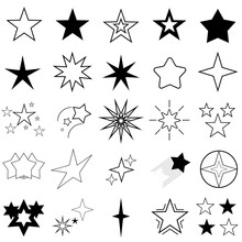 Set Of Black Line Star Icon. Line Icons Collection For Web Apps And Mobile Concept. Symbol Star. Decoration Element For Christmas Or Birthday. Vector Illustration.