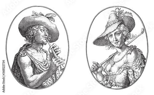 Fotografiet Coridon and Silvia, Crispijn van de Passe (II), 1635, vintage illustration