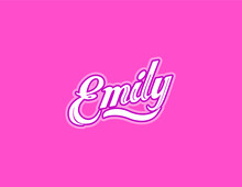 First Name Emily Designed In Athletic Script With Pink Background