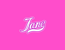 First Name Jane Designed In Athletic Script Pink Background
