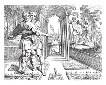 Odysseus Embraces Laertes In His Vineyard, Vintage Illustration.