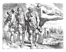 Odysseus And Telemachus En Route To Laertes, Vintage Illustration.
