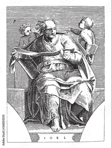 Fotografía Prophet Joel, Adamo Scultori, after Michelangelo, 1585, vintage illustration