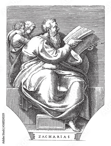 Платно Prophet Zechariah, Adamo Scultori, after Michelangelo, 1585, vintage illustration