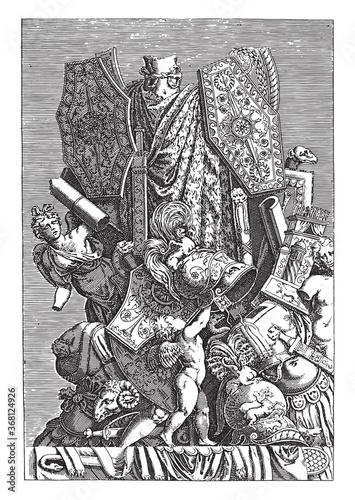 Obraz na plátně Trophy of Weapons and Sculptures, vintage illustration.