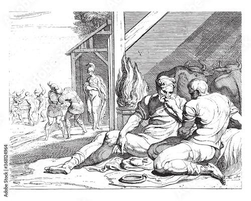 Fototapeta Odysseus and Telemachus in the hut of Eumaeus, vintage illustration