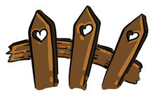 Fence With Hearts, Illustratio...