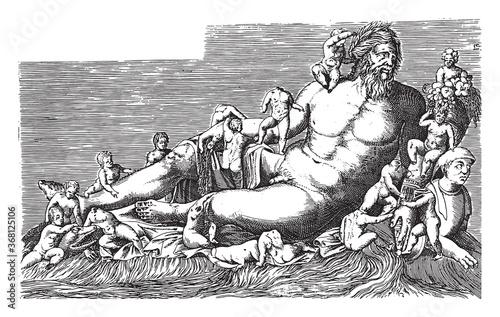 Fototapeta Sculpture of the river Nile, vintage illustration.